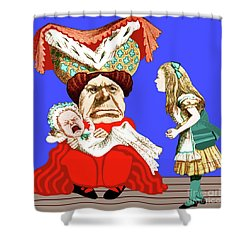 Shower Curtain featuring the painting Lewis Carrolls Alice, Red Queen And Crying Infant by Marian Cates