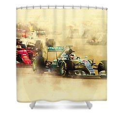 Lewis Hamilton Leads Again Shower Curtain