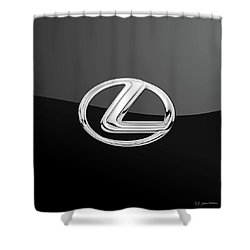 Lexus - 3d Badge On Black Shower Curtain by Serge Averbukh