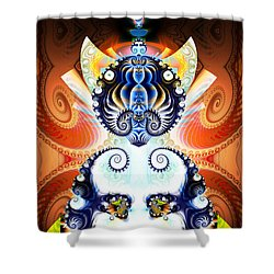 Li Shou - Ancient Chinese Cat Goddess Shower Curtain by Jim Pavelle