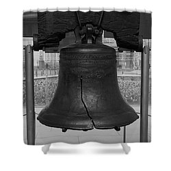 Shower Curtain featuring the digital art Liberty Bell Bw by Chris Flees