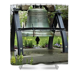 Shower Curtain featuring the photograph Liberty Bell Replica by Mike Eingle