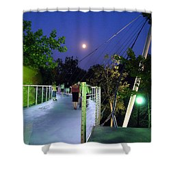 Liberty Bridge At Night Greenville South Carolina Shower Curtain by Flavia Westerwelle