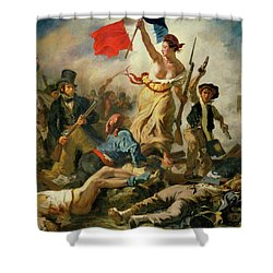 Shower Curtain featuring the painting Liberty Leading The People By Eugene Delacroix 1830 by Movie Poster Prints