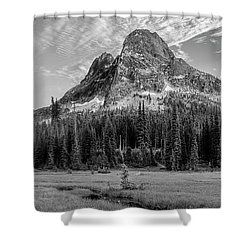 Shower Curtain featuring the photograph Liberty Mountain At Sunset by Jon Glaser