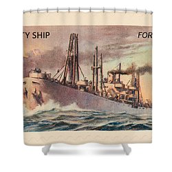 Liberty Ship Stamp Shower Curtain by Heidi Smith