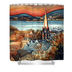 Liberty's Light - Newburgh Ny Shower Curtain by Janine Riley