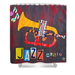 License Plate Art Jazz Series Number One Trumpet Shower Curtain by Design Turnpike