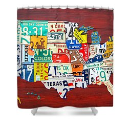 License Plate Map Of The United States - Midsize Shower Curtain by Design Turnpike