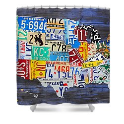 License Plate Map Of The Usa On Blue Wood Boards Shower Curtain by Design Turnpike