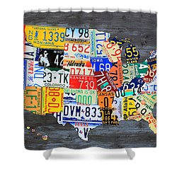 License Plate Map Of The Usa On Gray Distressed Wood Boards Shower Curtain by Design Turnpike