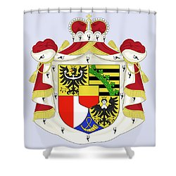 Shower Curtain featuring the drawing Liechtenstein Coat Of Arms by Movie Poster Prints