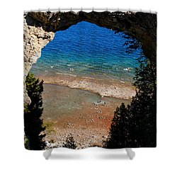 Life Below Arch Rock Shower Curtain