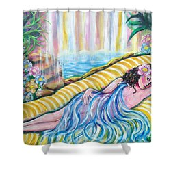 Shower Curtain featuring the painting Life Doesn't Get Any Better by Anya Heller