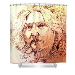 Life Drawing Sepia Portrait Sketch Medusa Shower Curtain