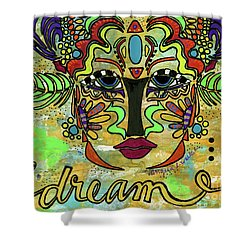 Life Dreams-ceremonial Mask Shower Curtain by Angela L Walker