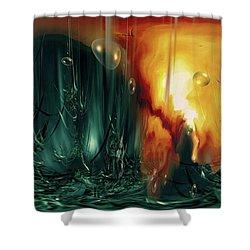 Shower Curtain featuring the digital art Life Form Ends by Linda Sannuti