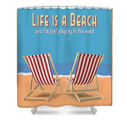 Shower Curtain featuring the digital art Life Is A Beach Vintage Poster by Edward Fielding