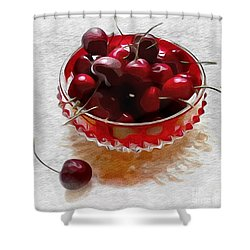 Shower Curtain featuring the digital art Life Is A Bowl Of Cherries by Alexis Rotella