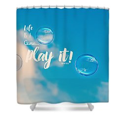 Life Is A Game Shower Curtain by Robin Dickinson