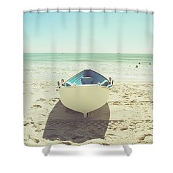 Lifeboat Shower Curtain by Colleen Kammerer