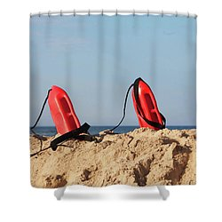 Shower Curtain featuring the photograph Lifeguard Buoys by Art Block Collections