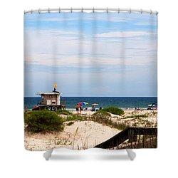 Lifeguard On Duty Shower Curtain by Susanne Van Hulst