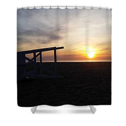 Lifeguard Stand And Sunrise Shower Curtain by Robert Banach