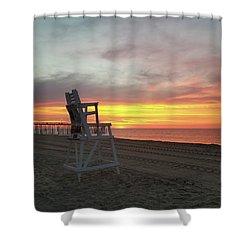 Lifeguard Stand On The Beach At Sunrise Shower Curtain