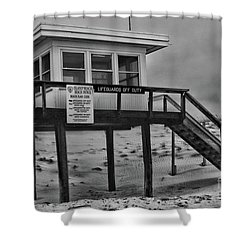 Lifeguard Station 1 In Black And White Shower Curtain by Paul Ward