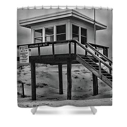 Lifeguard Station 2 In Black And White Shower Curtain by Paul Ward