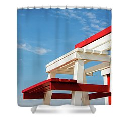Lifeguard Station Shower Curtain by Marion McCristall