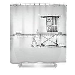 Lifeguard Tower 17 And Newport Beach Pier Shower Curtain