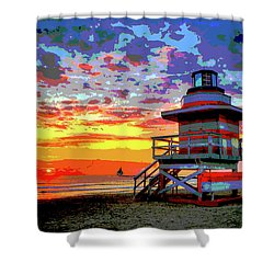 Lifeguard Tower At Miami South Beach, Florida Shower Curtain by Charles Shoup