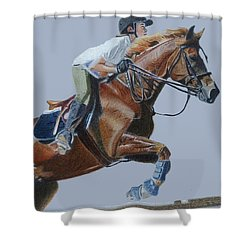 Horse Jumper Shower Curtain by Patricia Barmatz