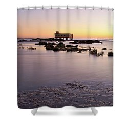 Lifesavers Building And Tides In Fuzeta Shower Curtain by Angelo DeVal