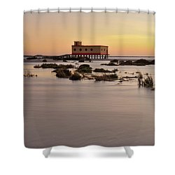 Lifesavers Building At Dusk In Fuzeta. Portugal Shower Curtain by Angelo DeVal