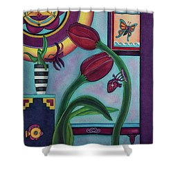Shower Curtain featuring the painting Lifting And Loving Each Other by Lori Miller