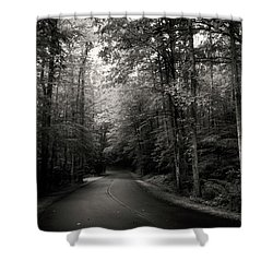 Light And Shadow On A Mountain Road In Black And White Shower Curtain