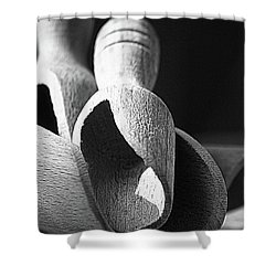 Light And Shadows On Wooden Spoons  Shower Curtain