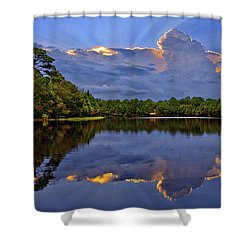 Light Beam Sunset Over Hidden Lake In Jupiter Florida Shower Curtain