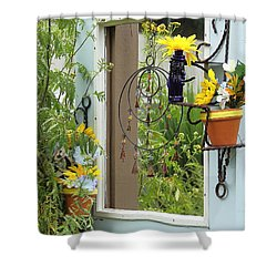Light Blue Door Planter Shower Curtain