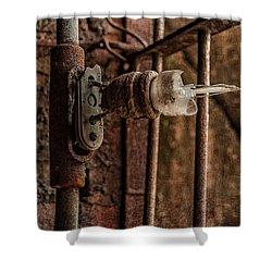light bulb Sloss Shower Curtain by Phillip Burrow