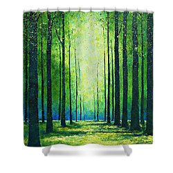 Light From Green Shower Curtain