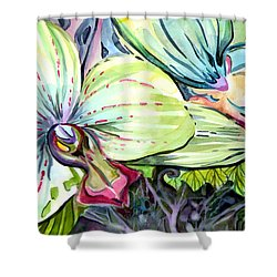 Light Of Orchids Shower Curtain by Mindy Newman