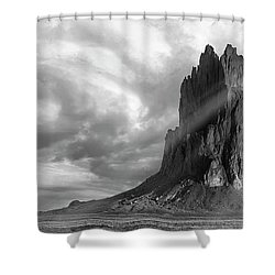 Shower Curtain featuring the photograph Light On Shiprock by Jon Glaser