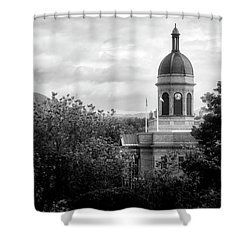 Light On The Courthouse In Black And White Shower Curtain
