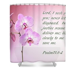 Shower Curtain featuring the photograph Light Pink Orchid Psalms 71 by Linda Phelps