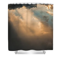 Light Punches Through Darkness Shower Curtain