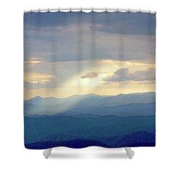 Light Ray Sunset Shower Curtain by Meta Gatschenberger
